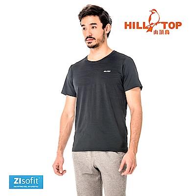 【hilltop山頂鳥】男款吸濕排汗抗UV彈性T恤S04MC3-瑪瑙黑