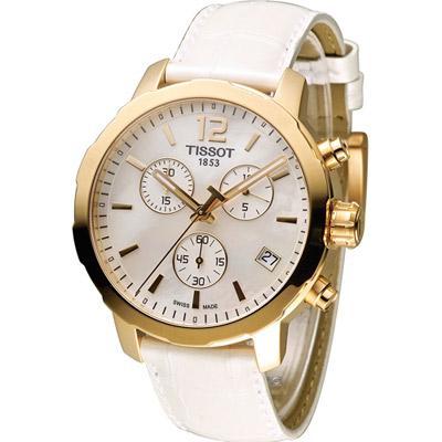 TISSOT 天梭 Quickster 經典系列時尚計時腕錶-白/42mm