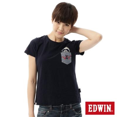 EDWIN-T恤-江戶勝-口袋氣質短袖T恤-女-丈
