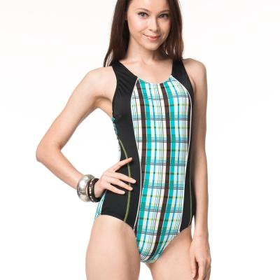 泳裝 連身式 格紋連身三角女泳裝 沙兒斯