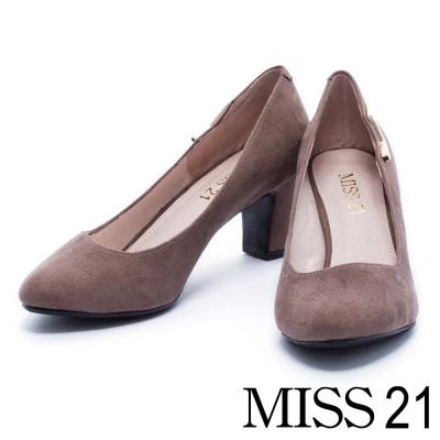 跟鞋 MISS 21 復古金屬小閃電絨布粗跟鞋-灰