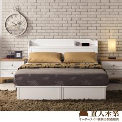 日本直人木業-北歐風白色5尺雙人床組