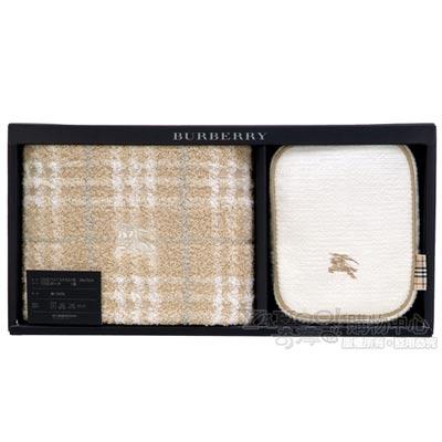 BURBERRY粉嫩格紋戰馬毛巾化妝包禮盒-baby 駝