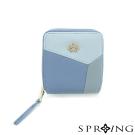 SPRING-真皮雙色幾何短夾-清甜藍