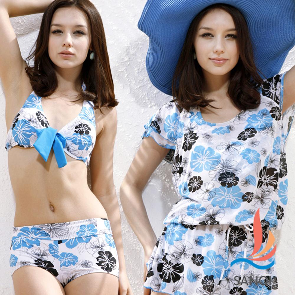 SANQI三奇 水漾夏日的鮮花.三件式比基尼鋼圈泳衣(淺藍M~XL)
