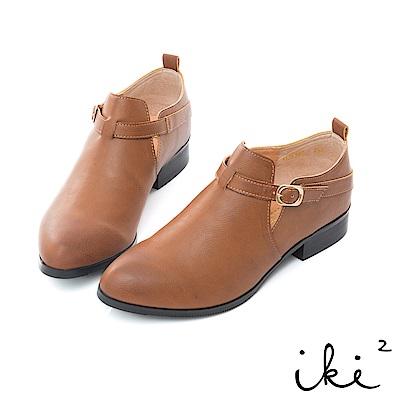 iki2 內真皮 氣質單扣造型粗跟鞋-褐