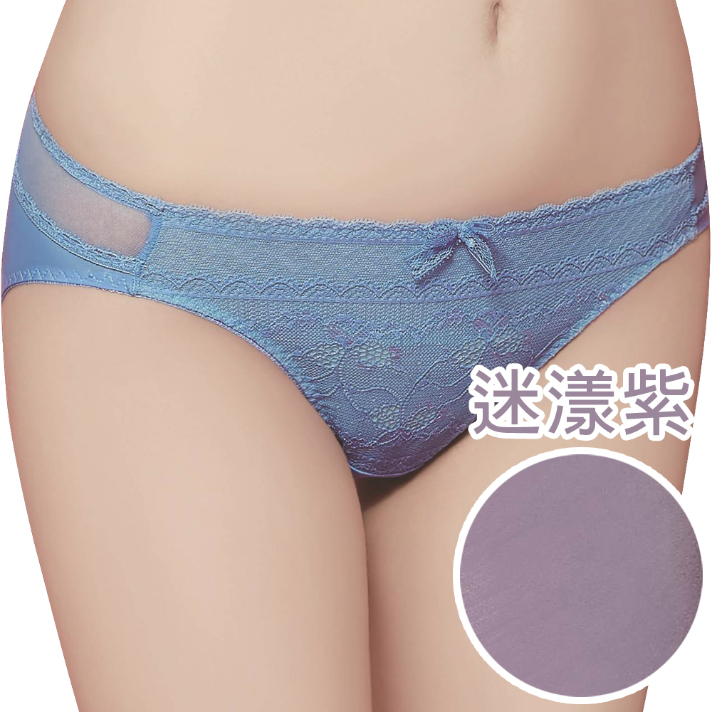 思薇爾 迷漾花園系列M-XXL蕾絲低腰三角內褲(迷漾紫)