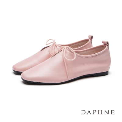 達芙妮DAPHNE 平底鞋-軟牛皮素面小方頭綁帶休閒鞋-粉