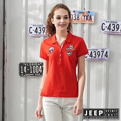JEEP 女裝素面貼布吸濕排汗POLO衫-橘紅色