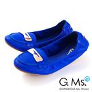 G.Ms.  輕旅行-金屬飾釦折疊旅行莫卡辛鞋-優越藍