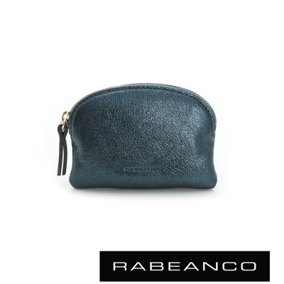 RABEANCO 迷色彩羊皮系列亮彩拉鍊零錢包  墨水藍