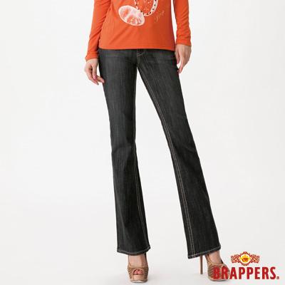 BRAPPERS 女款 新美腳Royal系列-女用中腰彈性長型牛角小喇叭褲-灰黑