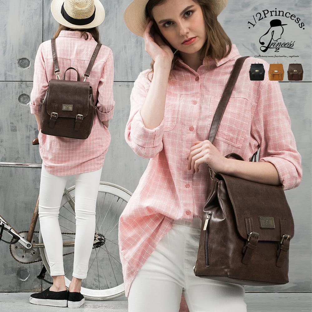 1/2princess二代復古皮革懷舊品味仿舊雙扣後背包-3色 [A2741] product image 1