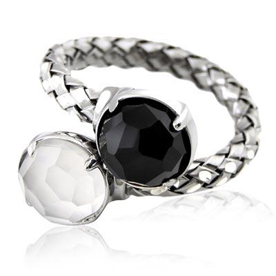 MONT BLANC 萬寶龍 雙色寶石編織單圈造型純銀戒指-52號