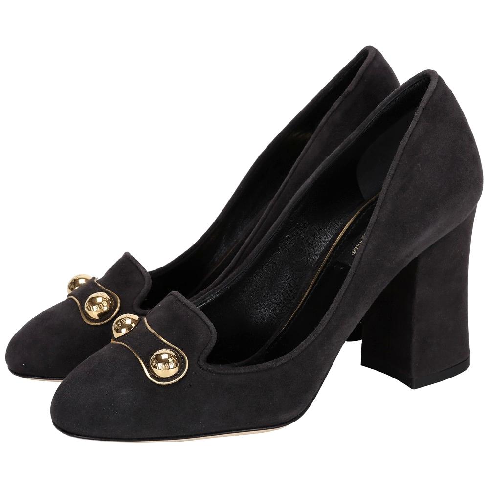 DOLCE & GABBANA 麂皮復古金屬飾高跟鞋(深灰色)