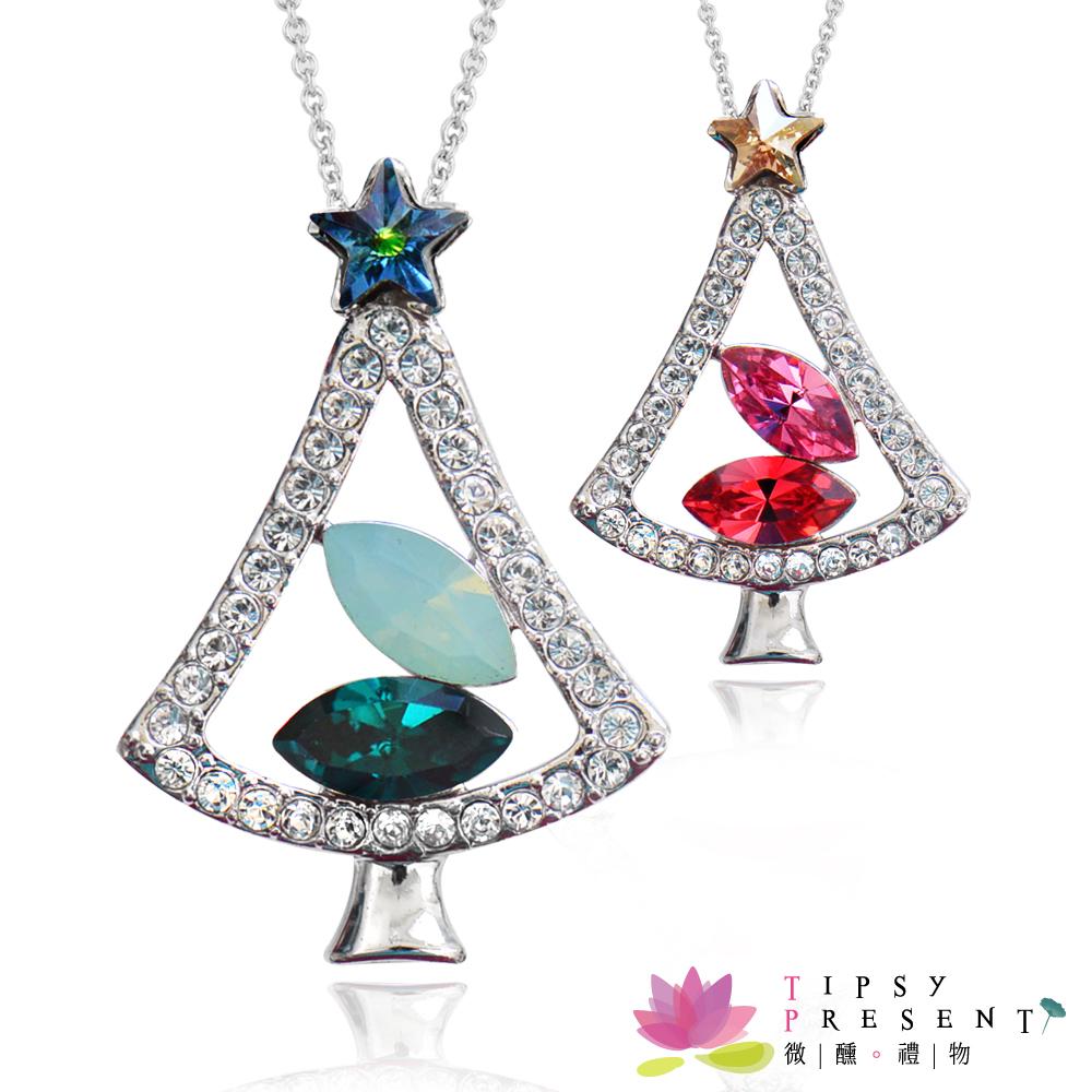 微醺禮物 施華洛世奇水晶元素 歡樂聖誕樹 項鍊