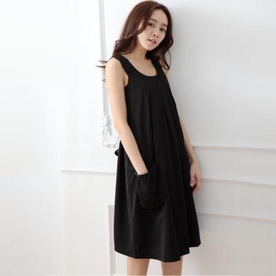 Keep-Chic孕婦裝-簡約圓領素雅大口袋背心洋裝-共二色