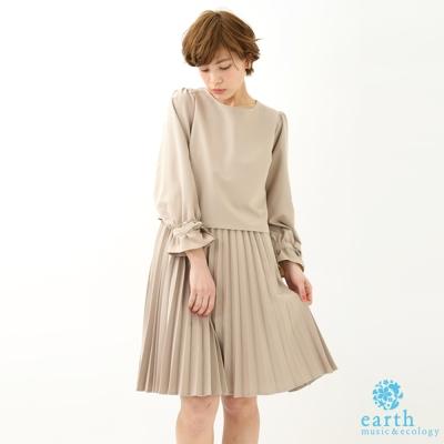 earth music 甜美袖口蝴蝶結綁帶百摺洋裝/裙