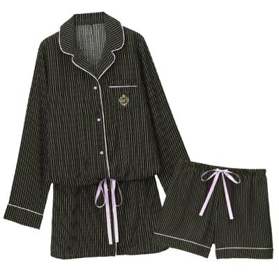 aimerfeel 細條紋連身成套睡衣-黑色