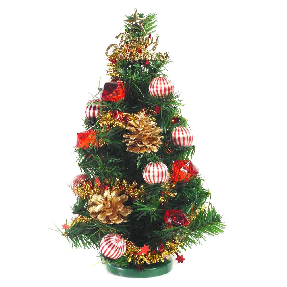 台製迷你1尺(30cm)裝飾綠色聖誕樹(紅寶石金松果系)