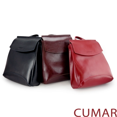 CUMAR 真皮兩用極簡牛皮後背小包