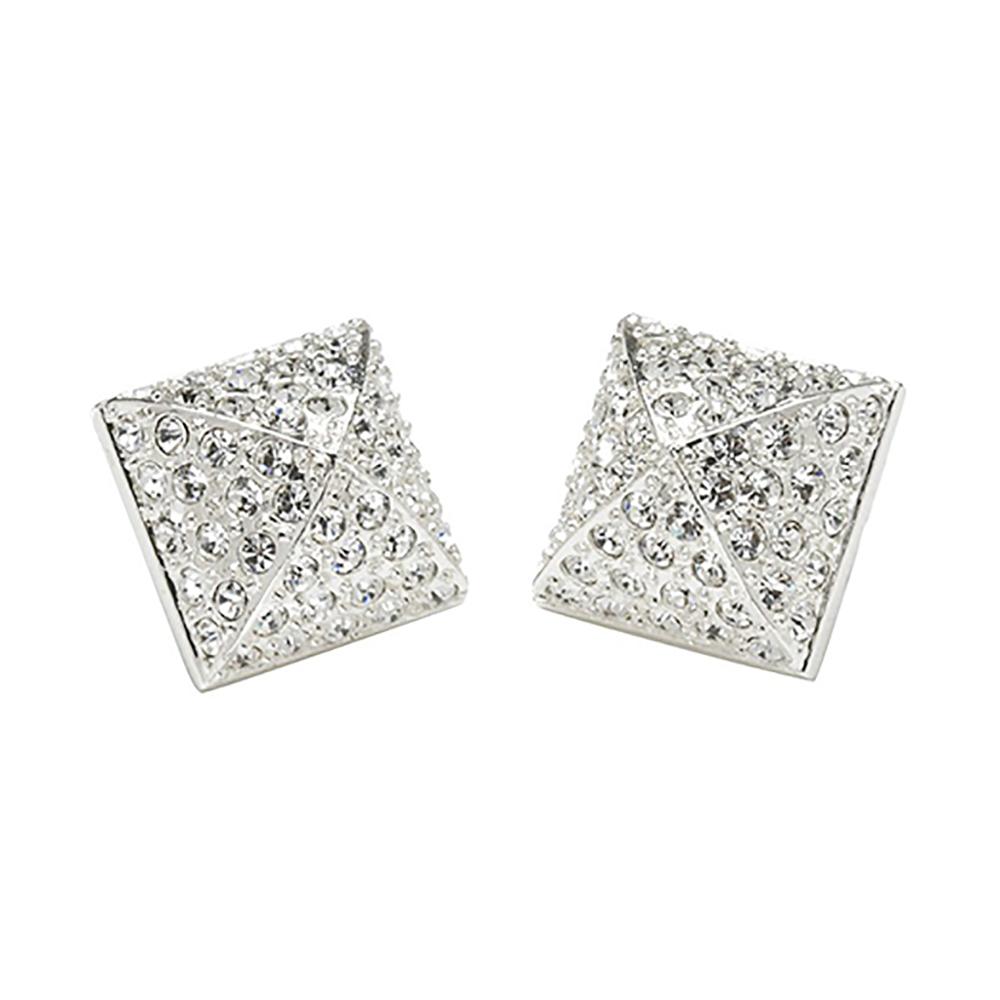 CC SKYE 白鑽 金字塔 造型銀色耳環 附原廠禮物盒
