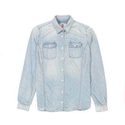 Timberland 女款淺藍色素面修身長袖牛仔襯衫