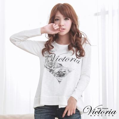 Victoria 愛心薔薇印染上衣-女-白色