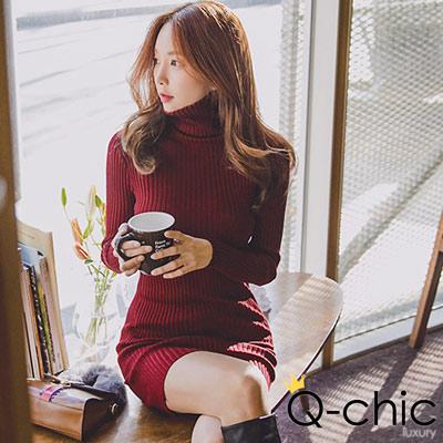 正韓 高領坑條純色針織合身洋裝 (共四色)-Q-chic