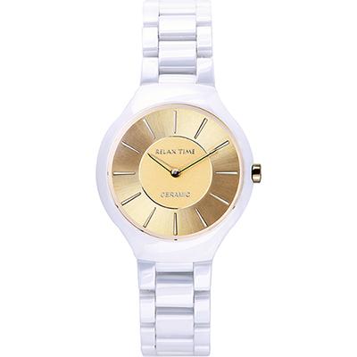 RELAX TIME RT33 嶄新系列陶瓷腕錶-金x白/32mm