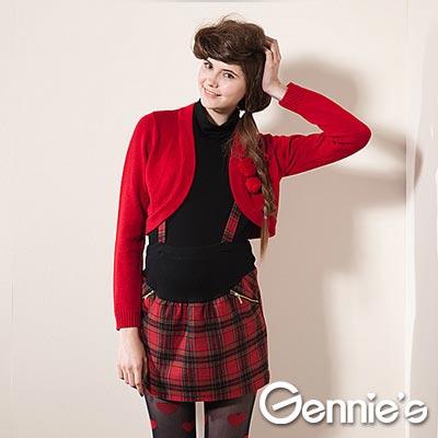【Gennie's奇妮】學院氣息‧紅格紋吊帶式秋冬孕婦短裙-紅(G4408)