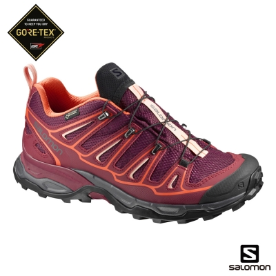 Salomon 登山鞋 低筒 GORETEX 防水 女 X ULTRA 2 紅