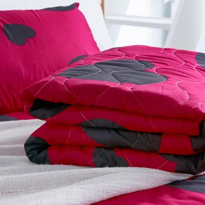 美夢元素 天鵝絨涼被床包組-雙人加大四件式心有靈犀