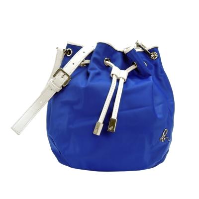 agnes b. 皮革飾邊尼龍束口水桶包(小/藍)