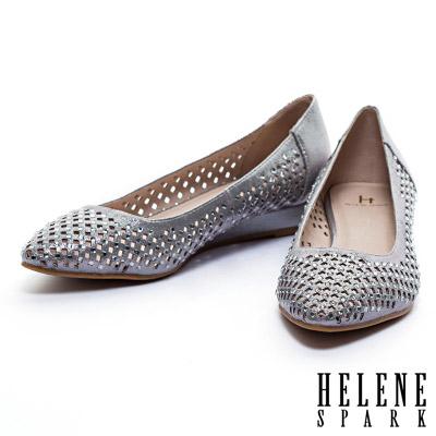 楔型鞋-HELENE-SPARK-金屬光澤晶鑽沖孔尖頭楔型低跟鞋-銀