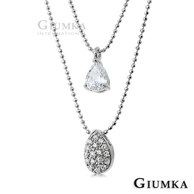 GIUMKA滴滴相守水滴雙鍊項鍊 精鍍正白K-共2色
