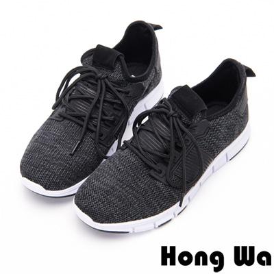 Hong Wa - 簡約素色運動休閒綁帶編織布鞋-黑