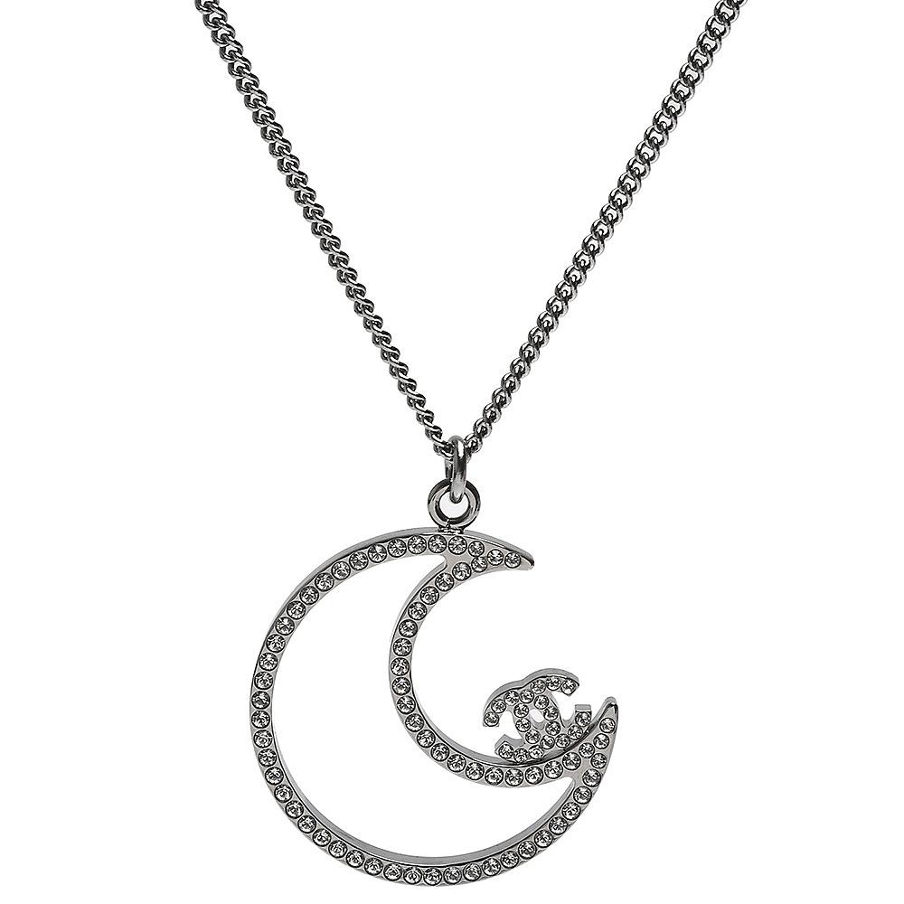 CHANEL 經典雙C LOGO弦月造型水鑽鑲嵌綴飾項鍊(銀)
