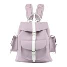 GRAFEA英國品牌 粉紫拼接皮革手工真皮側邊雙口袋後背包兔子包