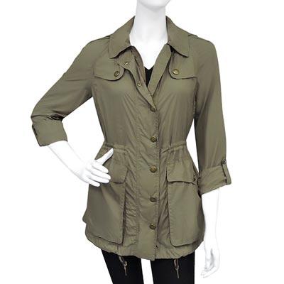 BURBERRY 橄欖綠連帽風衣外套US 6810號