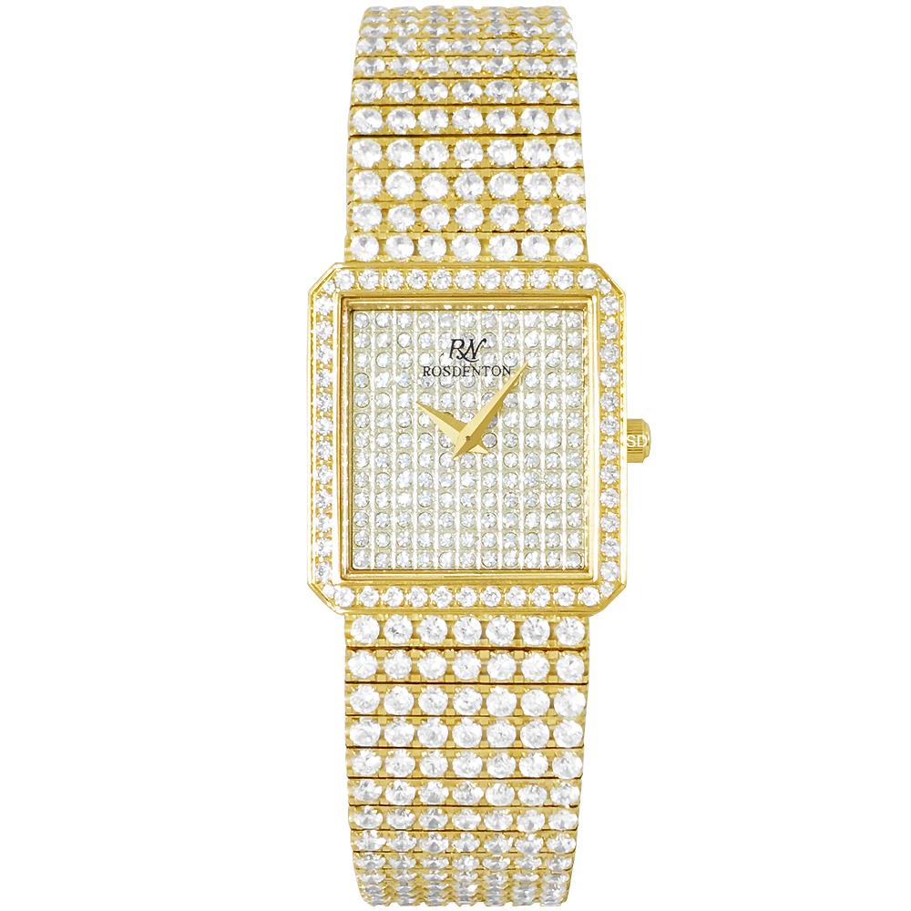 ROSDENTON 勞斯丹頓星光大道滿天星晶鑽手錶-金/24mm