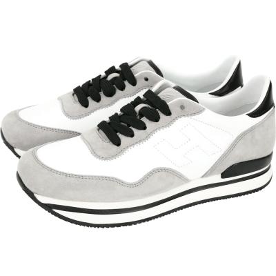 HOGAN H222 拼色麂皮厚底繫帶休閒鞋(灰x白)