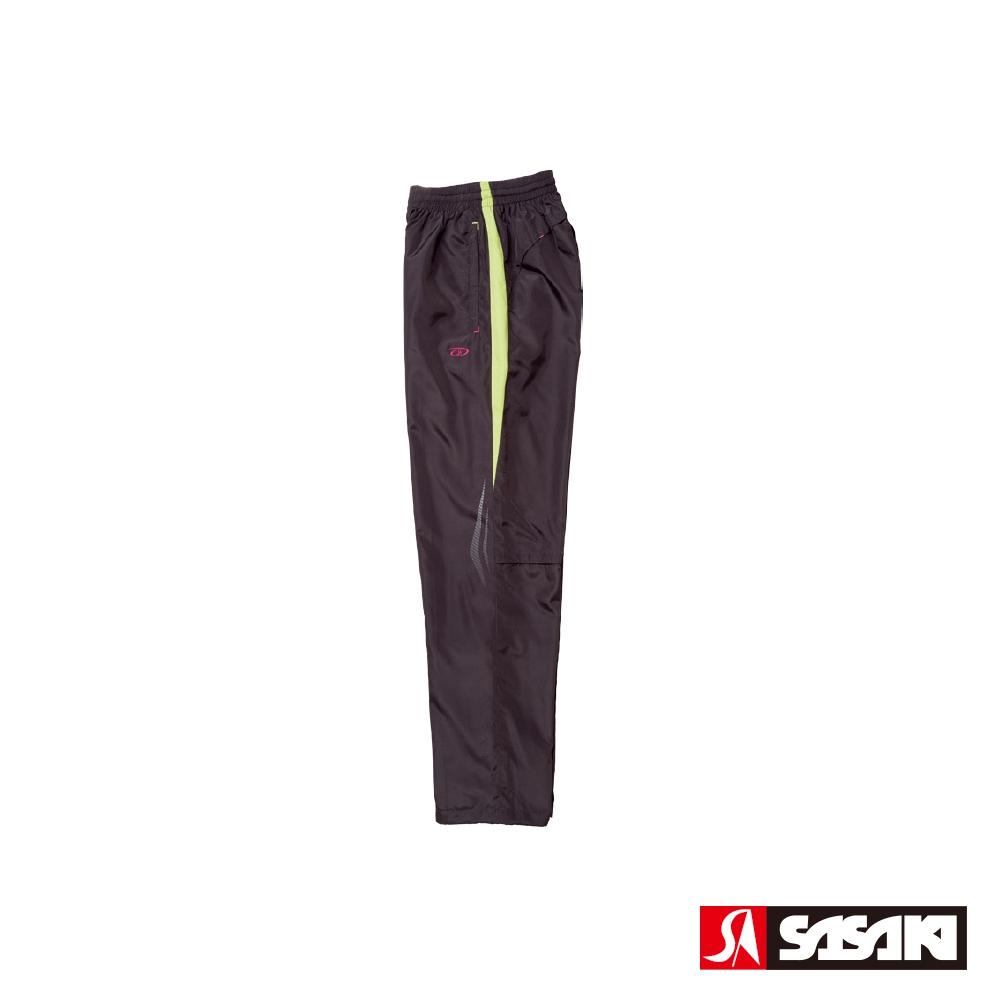 SASAKI 夜間反光防潑水功能平織運動長褲-男-深灰/果綠