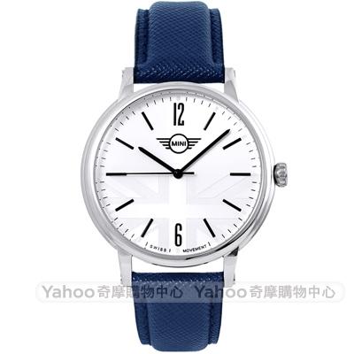 MINI Swiss Watches Cooper英倫風時尚手錶-白X藍/42mm