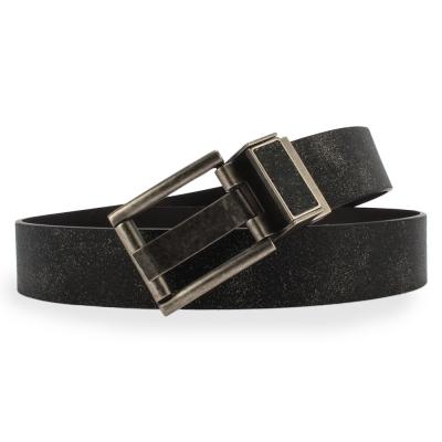 Calvin Klein 復古磨砂質感旋轉扣頭雙面穿式皮帶-黑