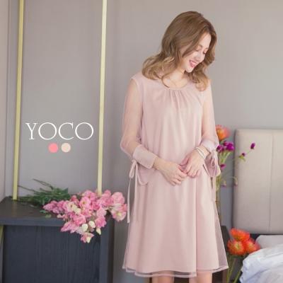 東京著衣-yoco 優雅氣質透膚拼接洋裝-S.M.L(共二色)