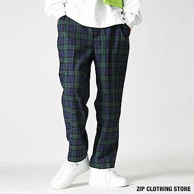 格紋直條紋寬褲(4色) ZIP日本男裝
