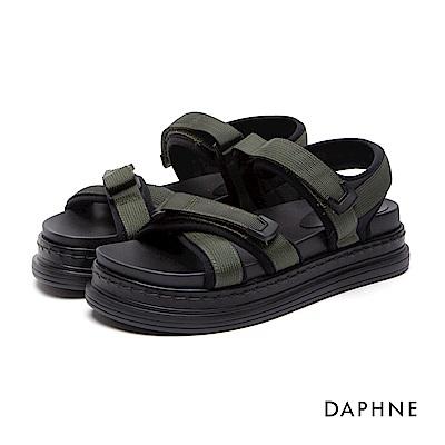 達芙妮DAPHNE 涼鞋-布面交叉寬帶魔鬼氈厚底涼鞋-綠