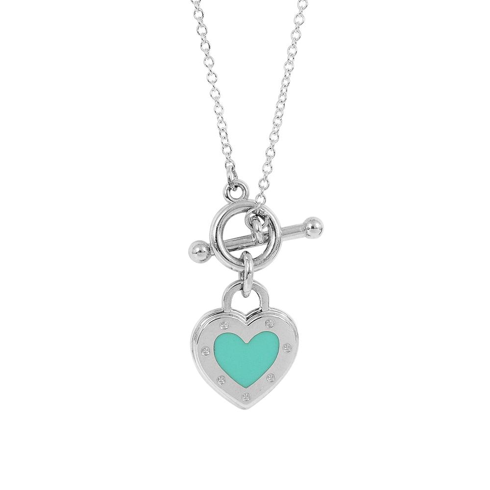 Tiffany&Co. Love 心心相印針釦鍊墜 純銀項鍊