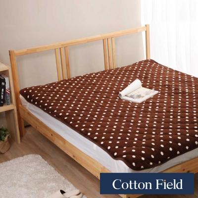棉花田 暖點 超細纖維時尚印花雙人加大保暖墊 可可色